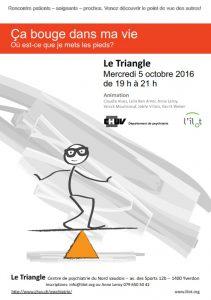 Triangle d'Yverdon: ça bouge dans ma vie, où est-ce que je mets les pieds? @ Centre Psychiatrique du Nord Vaudois | Yverdon-les-Bains | Vaud | Suisse